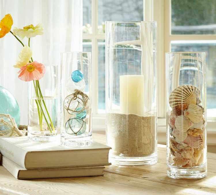 decoración de jarrones de cristal