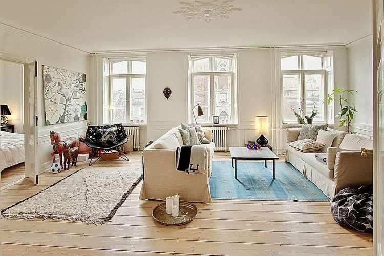 decoracion escandinava salones estilo nordico vintage