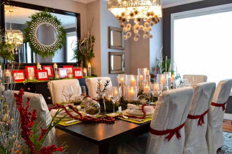 decorar mesa navidad rojo y dorado